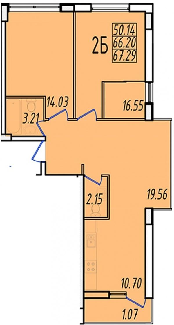 Планировки двухкомнатных квартир 65.33 м^2